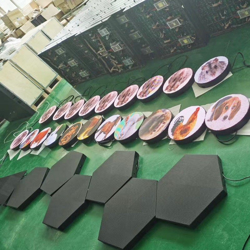 indoor outdoor shapes led display panel P4 club use hexagon shapes led display screen